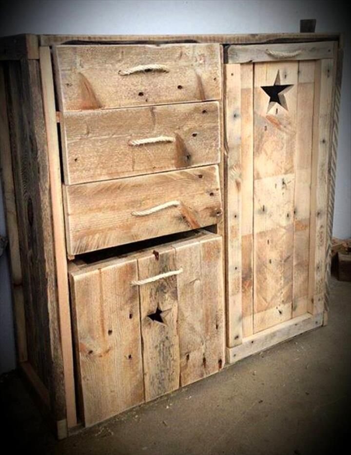 Pallet chest of drawers mini cabinet or cupboard 30 for Pallet drawers diy