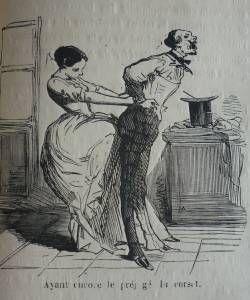 Quand un homme essaye un corset... ( Le Charivari, 31/10/1852)  When a Man tries on a Corset.  Bibliotheque Municipale de Lyon