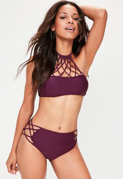 Missguided Purple Strappy High Neck Bikini Set