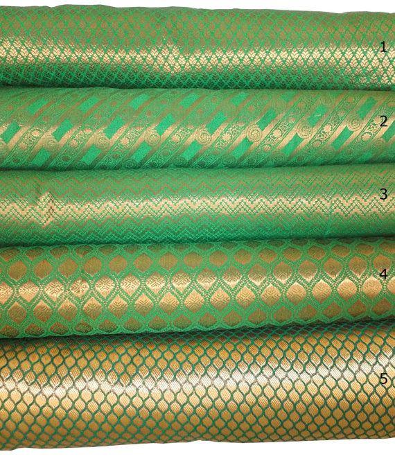 bundle of green indian silk brocade set of 5 fat quarters