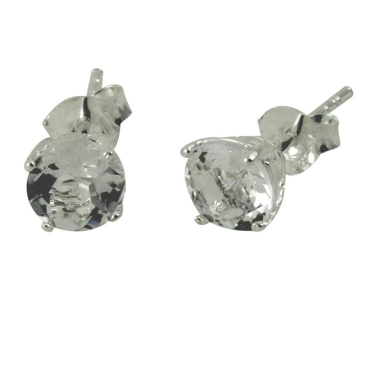 Sterling Created White Topaz Stud Earrings 6mm | apoptosisnyc.com