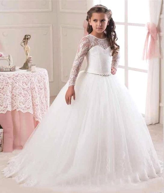 Hot Sale 2016 Long Sleeve Flower Girl Dresses for Weddings Lace First Communion Dresses for Grils Pageant Dresses White Ivory