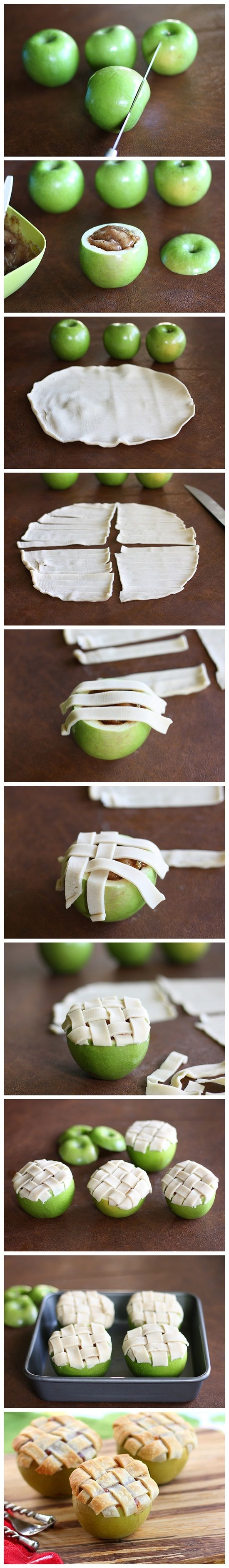 Mini apple pies with lattice crusts, baked inside apples. Ever see anything cuter than this?: