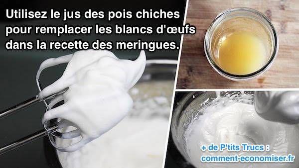 Grâce à cette découverte, vous allez à nouveau pouvoir préparer de délicieuses pâtisseries, tout en respectant votre alimentation végétalienne. Découvrez l'astuce ici : http://www.comment-economiser.fr/comment-remplacer-oeuf-dans-meringue-avec-jus-pois-chiche.html?utm_content=buffer9c73a&utm_medium=social&utm_source=pinterest.com&utm_campaign=buffer
