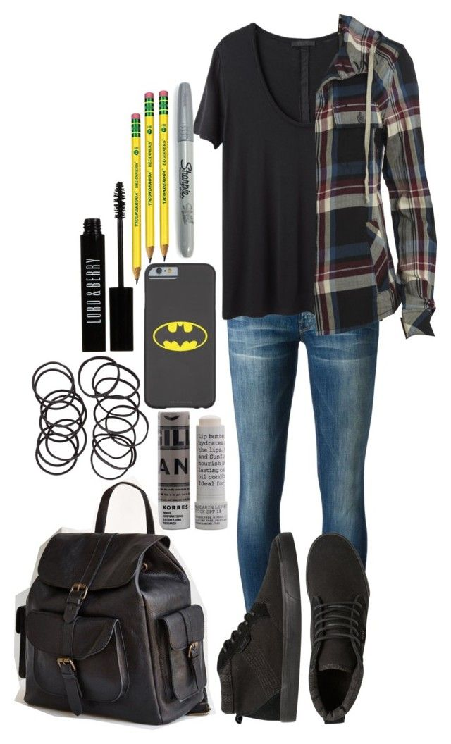 Stiles Stilinski Inspired School Outfit by lili-c on Polyvore featuring AllSaints, The Row, Mother, BDG, H&M, Lord & Berry, Korres and Sharpie