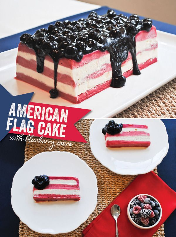 American-Flag-Ice-Cream-Cake- Smooth and tangy raspberry sorbet is layered with sweet vanilla ice cream, creating a delicious berries and cream flavor in this Red, White, & Blueberry Ice Cream Cake.