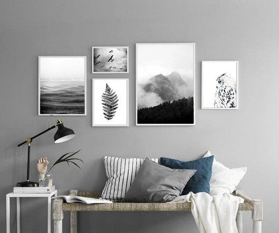 Set Of Five Wall Art Prints Scandinavian Posters Living Room Gallery Monochrome Wall Gallery Bedroom Wall Art Black And White Prints In 2021 Bedroom Wall Art Gallery Wall Monochrome Wall