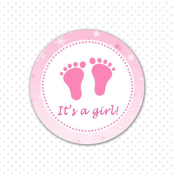 Pink Baby Feet Baby Girl Shower Tag - Party Favors Baby Shower Favors Winter Its a Girl Stickers Snowflake INSTANT DOWNLOAD