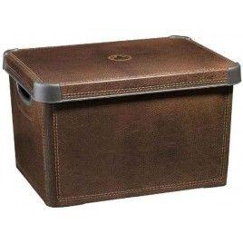 CURVER box úložný dekorativní L LEATHER, 25 x 39,5 x 29,5 cm, hnědá, 04711-D12