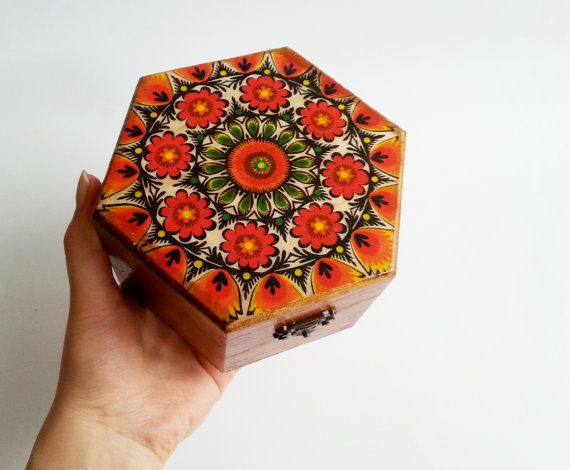 Trinket box decoupage folk polish art keepsake box small box