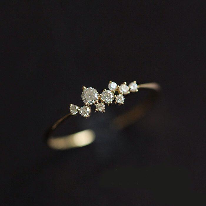 Sierlijke verlovingsring, 14K verlovingsring, bruids Ring, verjaardag Ring, 14K White Gold trouwring, stapelbare Band door Donatellajewelry op Etsy https://www.etsy.com/nl/listing/294540263/sierlijke-verlovingsring-14k