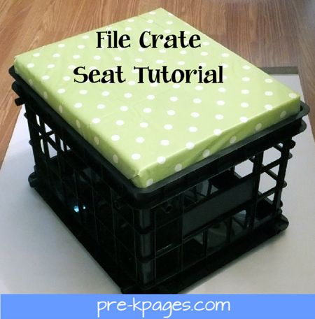 file crate seat tutorial - use vinyl tablecloth instead of fabric--cheaper and can be easily wiped off.