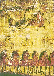 Mural from the tomb of an Wuhuan official and military commander.