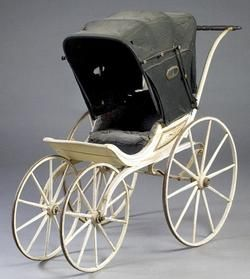 victorian baby carriage | Victorian baby buggy with stenciled wood carriage and black oilcloth ...