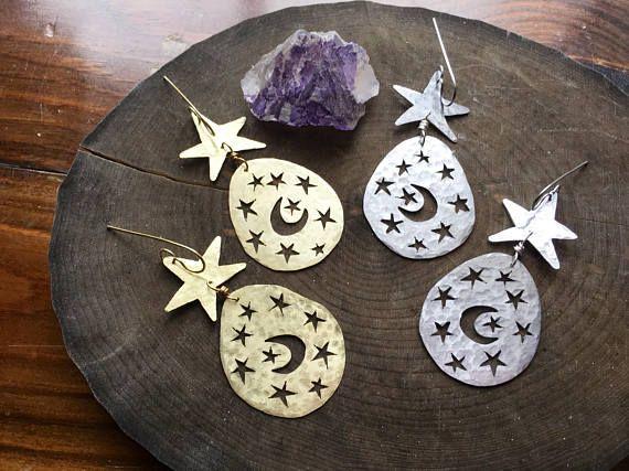 moon and star earrings  Noche De Ronda earrings la luna y