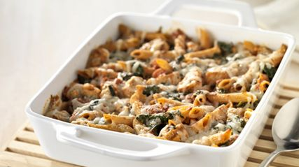 Three-Cheese Chicken Penne Pasta Bake - This is really good and easy to make.  Plus it's healthy!  You can make it even healthier by using low fat cream cheese.    Make it one day and divide it out for delicious lunches!  Or divide it up and freeze it too.