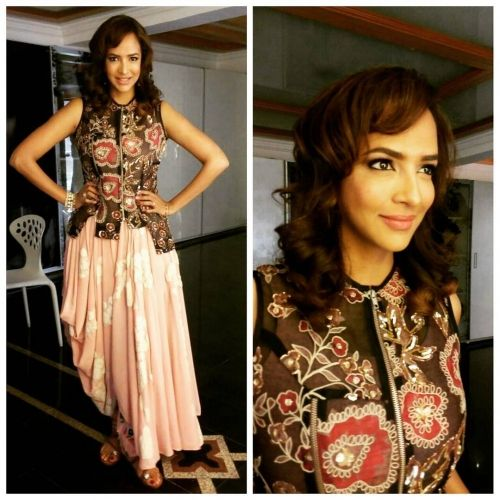 Lakshmi Manchu in a Garoo outfit for the launch of her movie Lakshmi Bomb