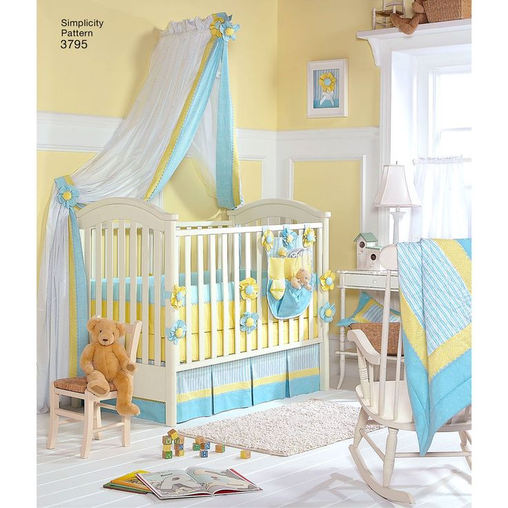 New moms will appreciate these coordinated accessories for the nursery: quilt, bumpers, sheet, dust ruffle, pillow, organizer, canopy and tie-backs. Simplicity sewing pattern.