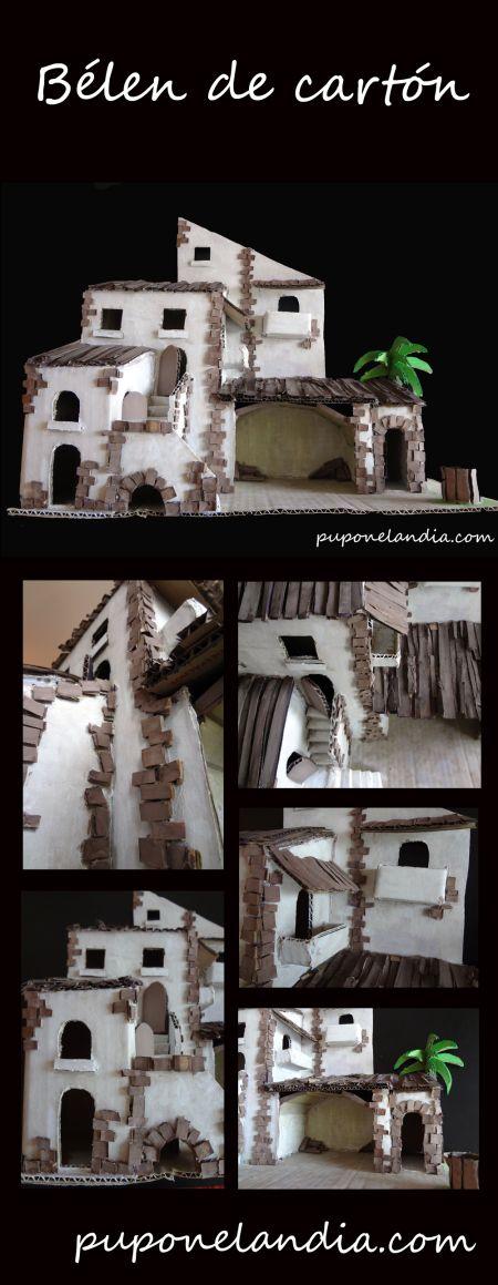 Belén de cartón hecho a mano - puponelandia.com Presepio di cartone - riciclo creativo