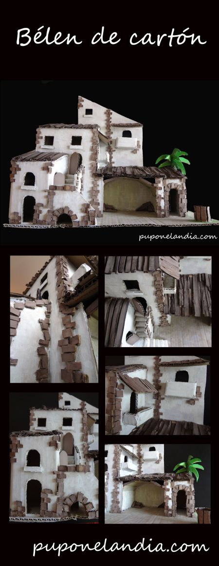 Bélen de cartón hecho a mano - puponelandia.com Presepio di cartone - riciclo creativo