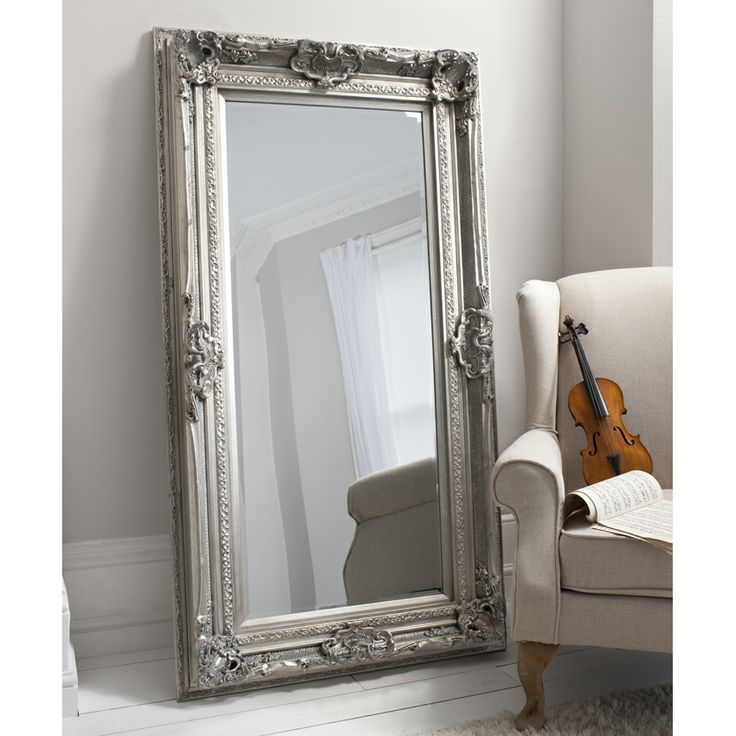 French Silver Louis Leaner Mirror by Alexander