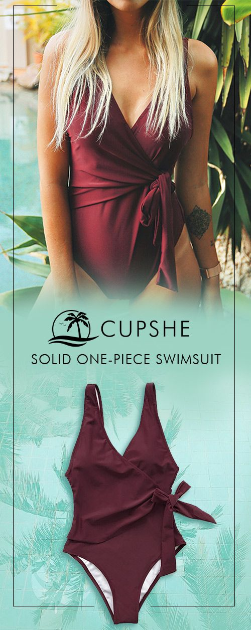 Elegant and simple, but far from plain. An elegant wine red one-piece with backl…