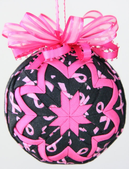 Pink and Black Awareness Quilted Ornament by YouniqueOrnaments, $25.00
