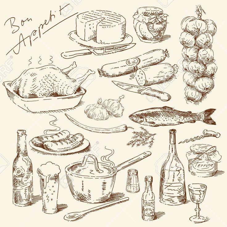 Nagy Gyűjtemény A Kézzel Rajzolt élelmiszer Royalty Free Clip Artok, Vektorokt…