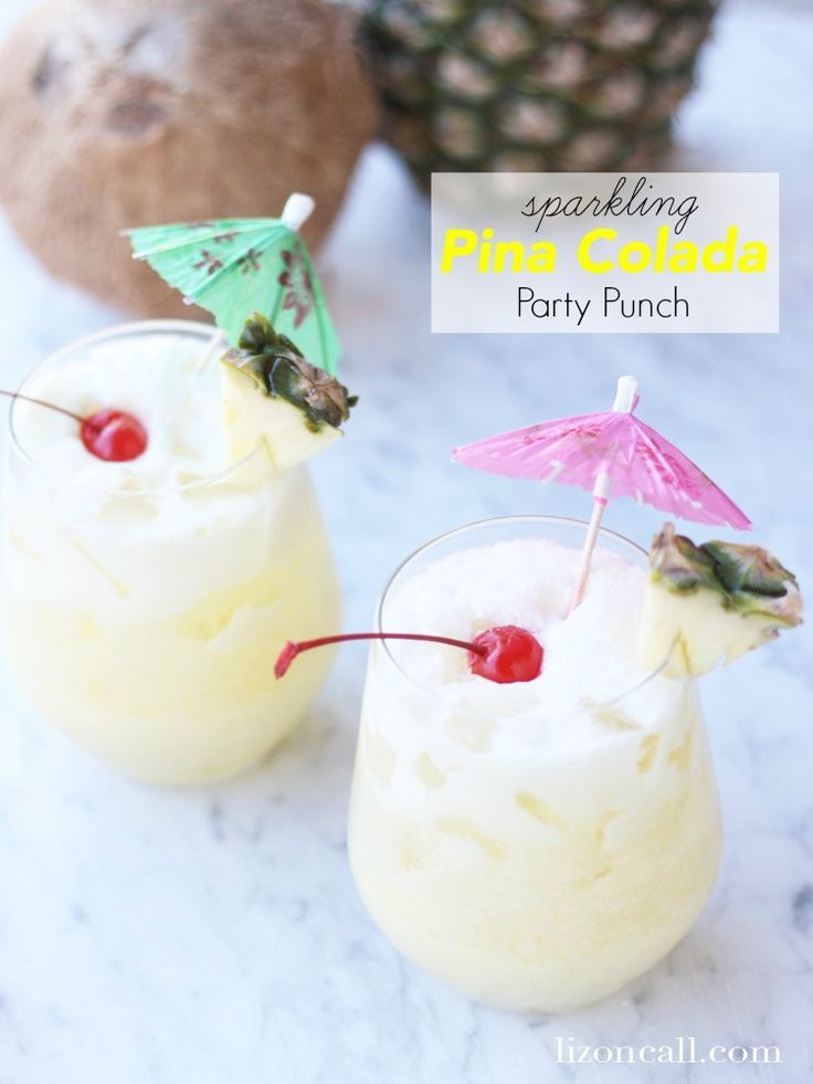 Get a feel for the islands at your next party or luau with this sparkling pina colada party punch. Who doesn't love a delicious drink with an umbrella in it?                                                                                                                                                                                 More