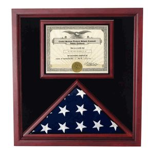 "This beautiful Cherry Flag and Document Case will hold a 5 x 9.5 flag or 3' x 5' flag in the flag case and a 8 1/2"" x 11"" document in the document holder. It has a glass front and black lining for an elegant touch."