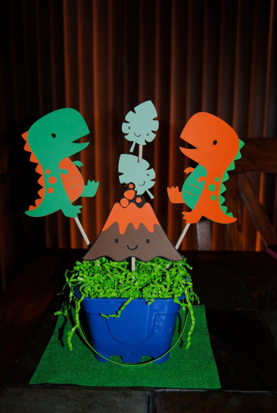 Dinosaurs & Volcano Centerpiece by Trendycupcakeshop on Etsy, $20.50