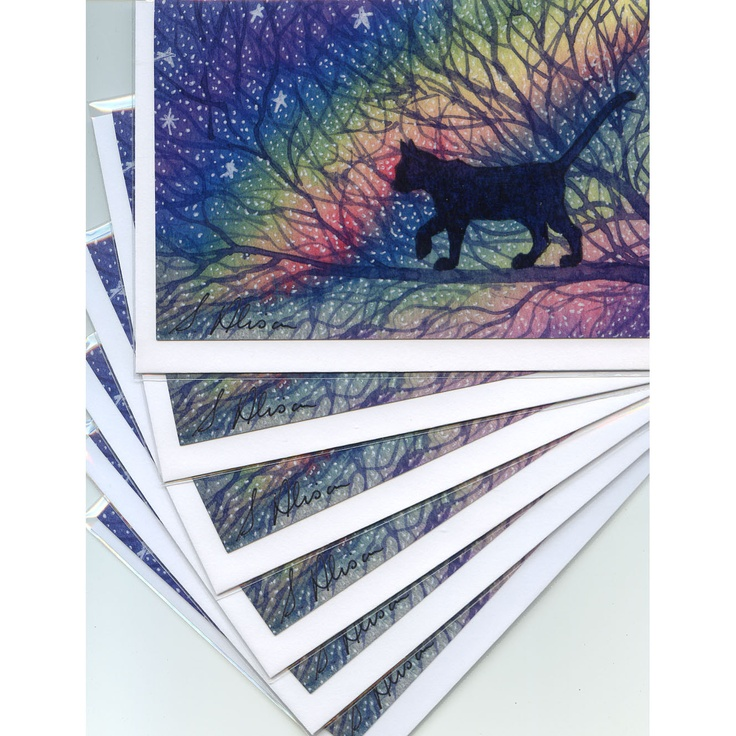 6 x cat greeting cards - Starry night. $8.00, via Etsy.