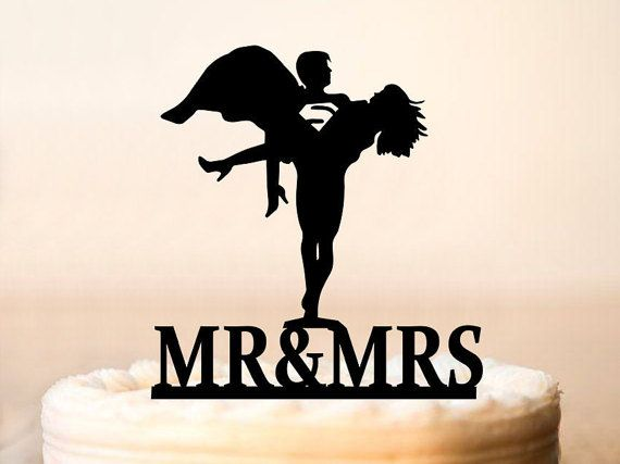 Superman Cake Topper Wedding Silhouette Bride And Groom Funny 0101