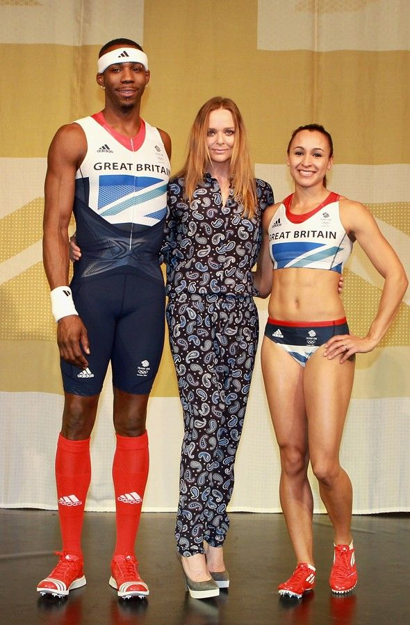 Phillips Idowu, Stella McCartney and Jessica Ennis at the official Team GB kit launch.Photo: Getty Images for Adidas