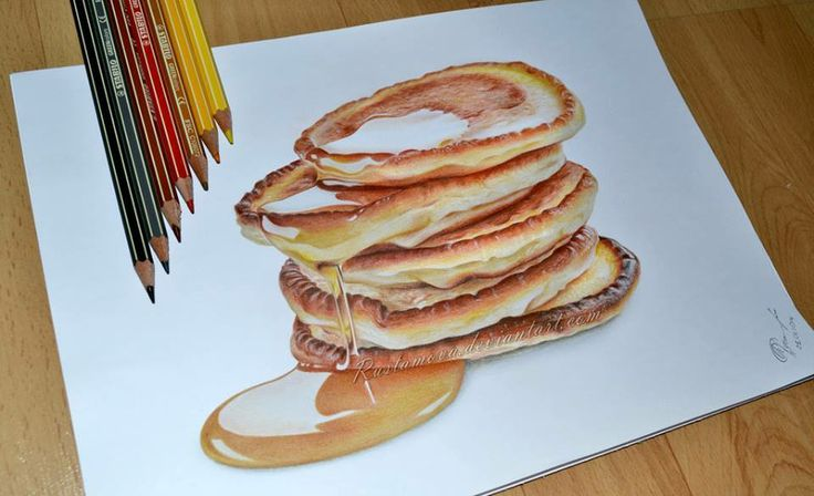 omg, it's amazing.. pancake drawing with colored pencils <3