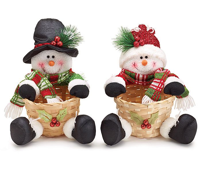 """#burtonandburton Assorted plush snowmen with bamboo basket.  Has felt beaded holly on front of basket.<br><br>Basket- 3""""H X 5 1/2""""W X 4 1/2""""D<br>2 assortments of 2. Total of 4."""