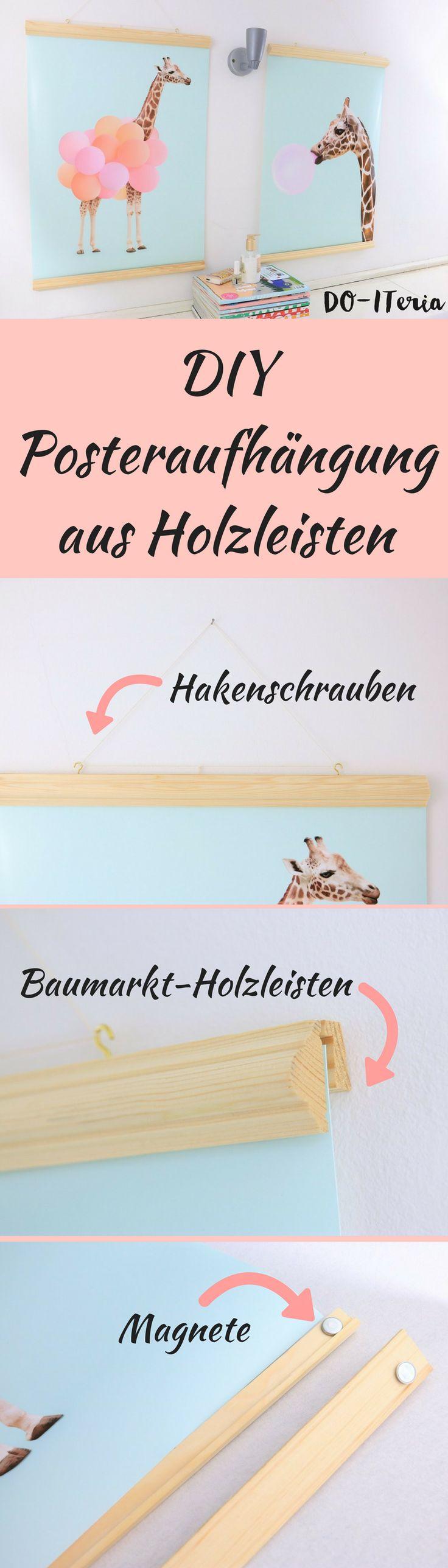 So eine Posteraufhängung aus Holzleisten ist super einfach uns schnell gemacht. Probier es selbst aus.