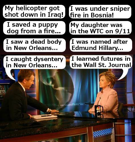 While it's true that Brian Williams has an excellent action hero resume, Hillary's heroic experiences beat his by a wide margin. To wit...