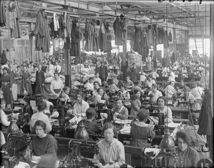 Female workers in the tailors shop in the Royal Arsenal, Woolwich, London, in May 1918.