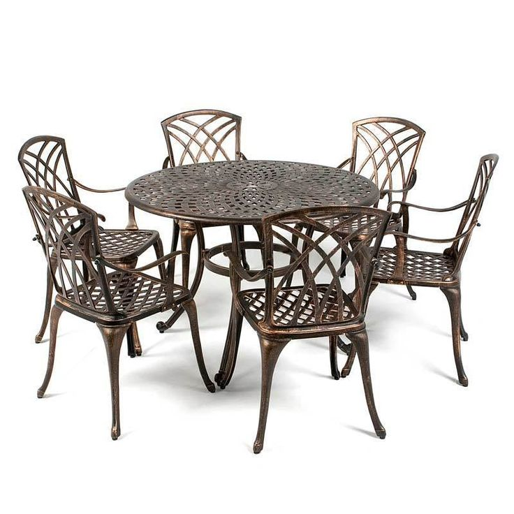 Metal Garden Furniture Set Patio Antique Dining Table 6 Chairs Cast  Aluminium | Metal Garden Furniture, Antique Dining Tables And Garden  Furniture