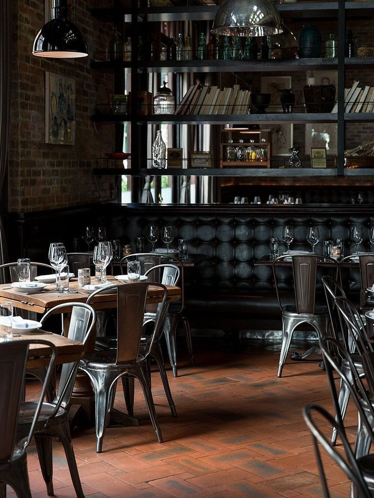 French tolix cafe chairs and leather homey restaurant