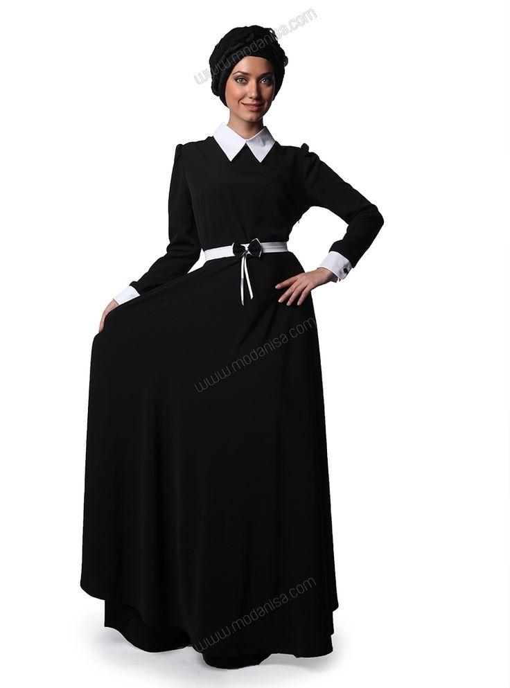 Beyaz Yakalı Uzun Elbise - Siyah - Mustafa Dikmen
