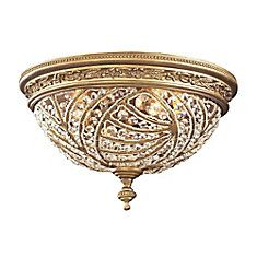 2-Light Ceiling Mount Dark Bronze Flush Mount