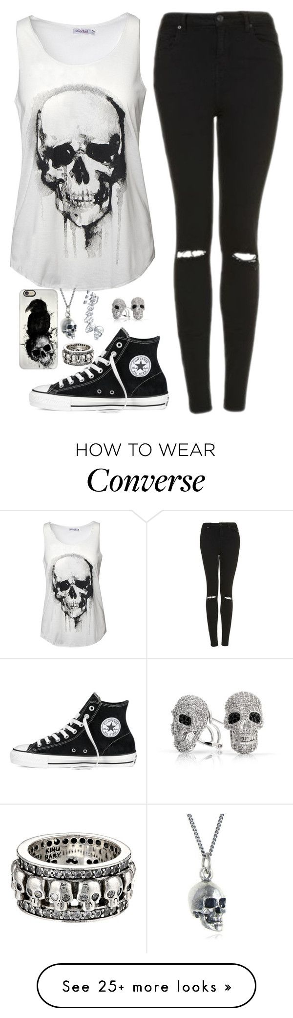 """Skull outfit"" by genesis6182 on Polyvore featuring Topshop, Converse, Bling Jewelry, Black Pearl, Casetify and King Baby Studio"