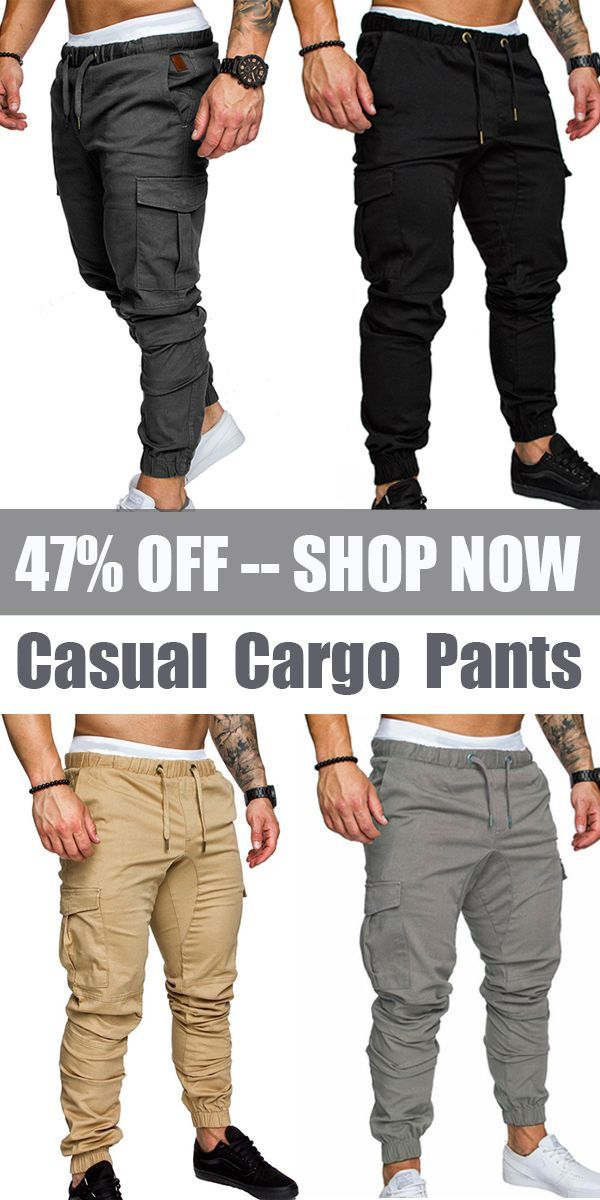 a0850be34 【US$ 25.46】Mens Multi-pocket Slim Fit Cargo Pants /Elastic Waist Solid  Color Casual Trousers#men #mensfashion #casual
