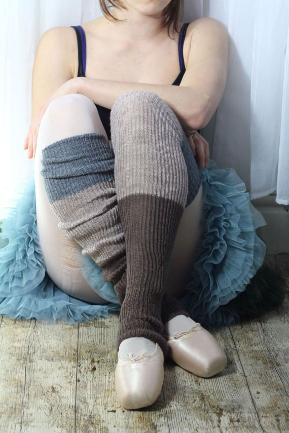 brown and grey Yoga/Dancer's LEGWARMERS  hand kranked and