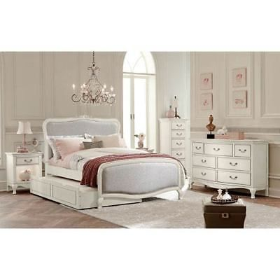 Kensington Antique White Katherine Upholstered Panel Full Bed with Trundle
