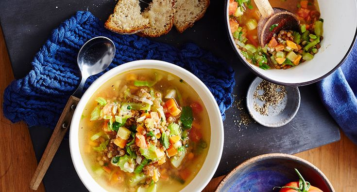 Lentil and veggie soup with parmesan toast