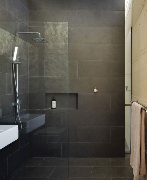 Pinterest the world s catalog of ideas for Black tile bathroom designs