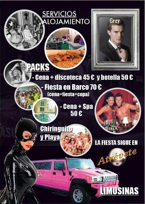 Servicios para despedidas en Benalmadena Torremolinos. Fiestas en Barco, limusina, Pack promociones y alojamiento LOW COST.